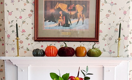 Fall Decor on mantle in inn